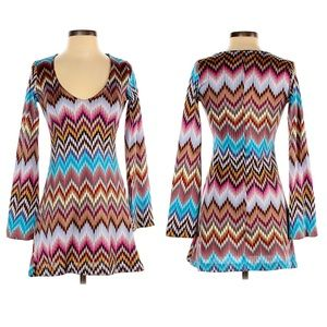 ASOS Chevron A-Line Bell Sleeve Zig Zag Knit Dress